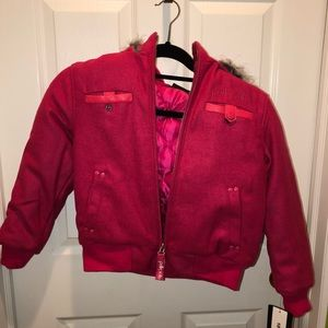 Hot pink girls winter coat with faux fur trim MED